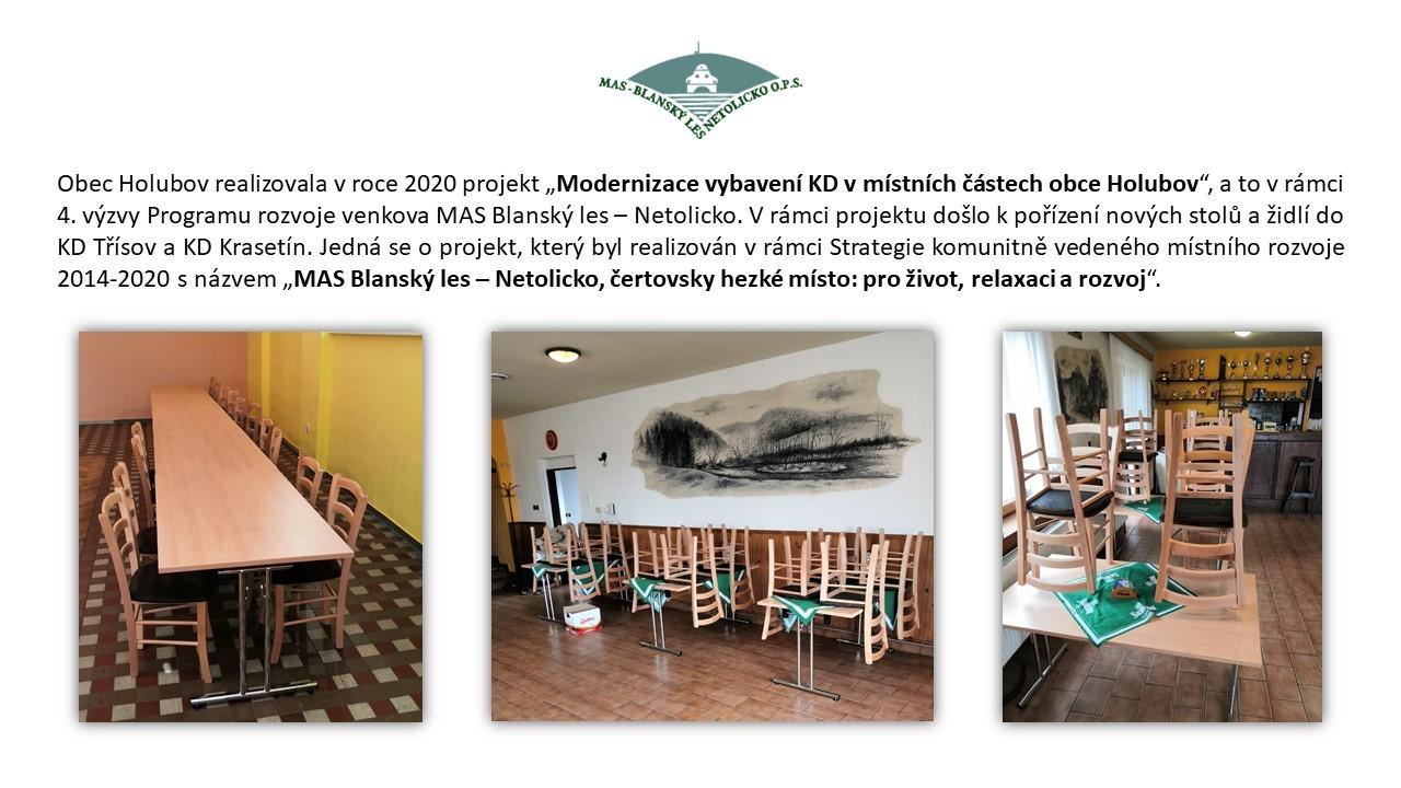 Modernizace vybavení KD v místních částech obce Holubov