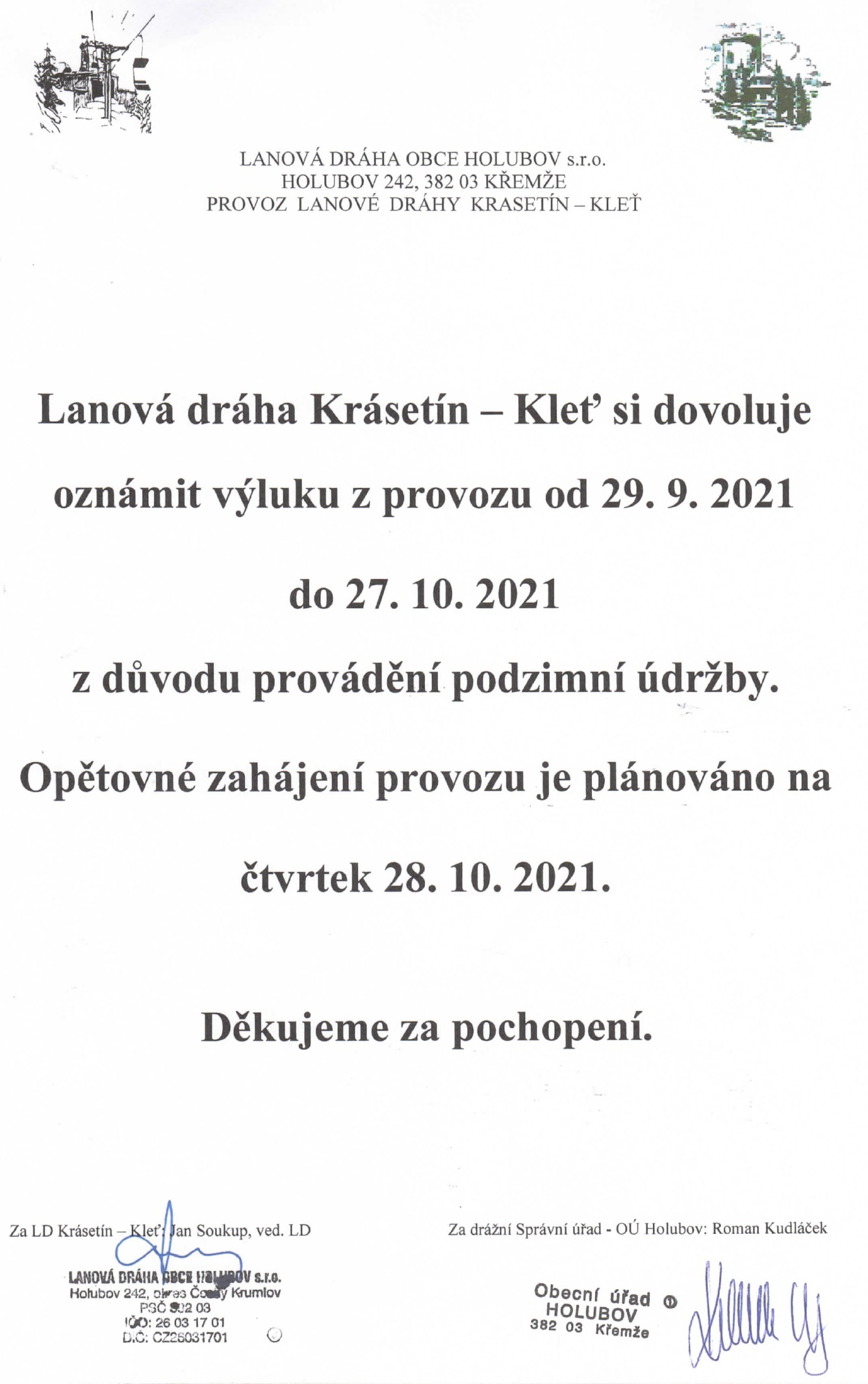 Výluka provozu lanové dráhy od 29. 9. 2021 do 27. 10. 2021